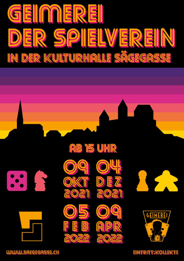 Flyer der Veranstaltungen des Vereins Geimerei im Jahr 21-22